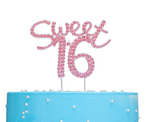 LOVENJOY Sweet 16 Cake Topper Pink (4.5-inch) -