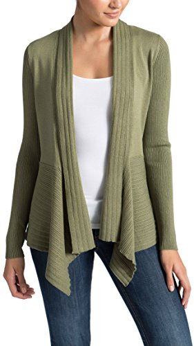 89th&Madison Long Sleeve Draped Open Cardigan Sweater with Pointelle Details and Ribbed Sleeves, Moss, (Ribbed Detail Cardigan)