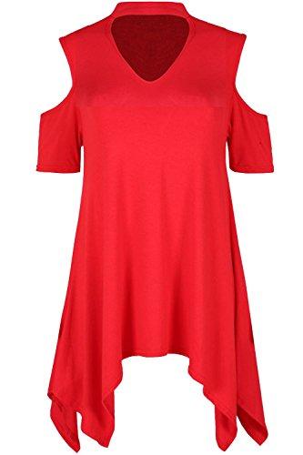 Oops Outlet Damen Halsband V Ausschnitt kurzärmlig kalt Schnitt Schulter Taschentuch Saum Kleid TOP - Rot, Plus Size (UK 16/18)
