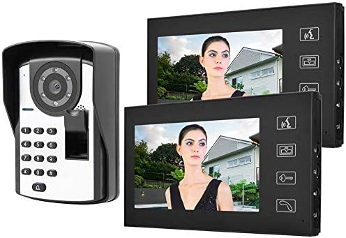ドアベル、7インチ有線ビデオドア電話ドアベル指紋パスワードリモートロック解除1V2ホームオフィスアパートメント(英国プラグ)