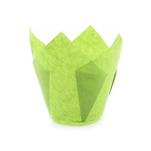 Green Tulip Baking Cups, Mini Size, -