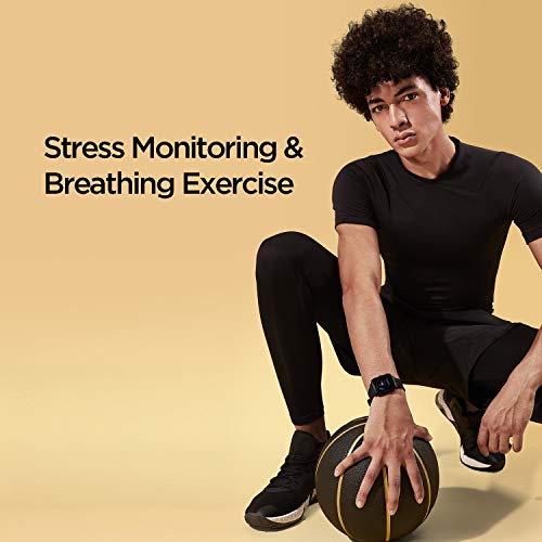 Amazfit Bip U Health Fitness Smartwatch with SpO2 Measurement, 9-Day Battery Life, Breathing, Heart Rate, Stress, Sleep Monitoring, Music Control, Water Resistant, 60+ Sports Modes, HD Display (Black)