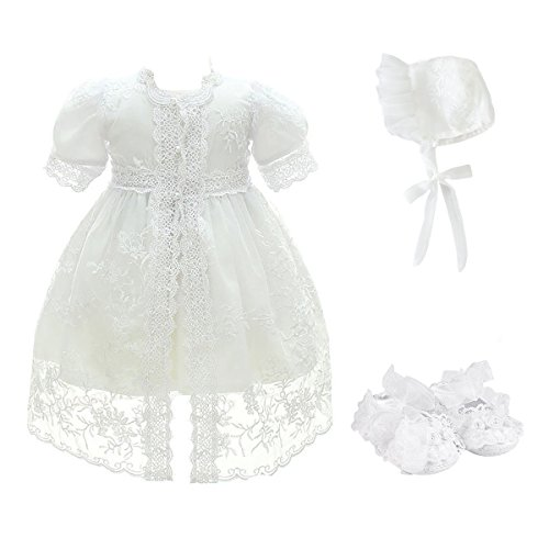 Glamulice Baby Girl Party Dress Christening Baptism Dresses Lace Princess Bow Formal Gown (6M/6-12M, White-4pcs)