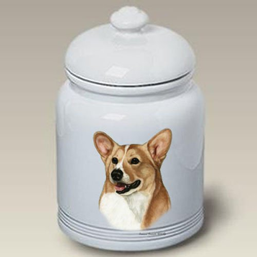 Best of Breed Welsh Corgi (Pembroke, Fawn & White): Ceramic Treat Jar 10 High #34239. New 2013 Design