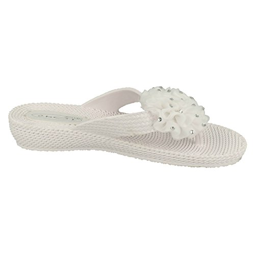 F10266 On Ladies D Toe Spot Wedge Posts White 6qZqwU