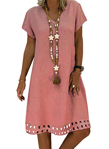 ROSKIKI Womens Short Sleeve V Neck Casual Summer Boho Beach Sun Dresses Hollowed Solid Loose Knee Length Tunic Shift Dresses Pink S