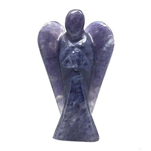 "Iolite Angel Gemstone Pocket Guardian Healing Carving Figurine | 2"""