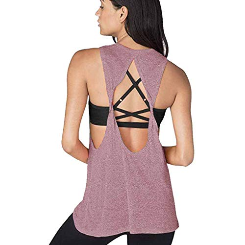 Women's Open Back Yoga T Shirt - Relaxed Fit Short Sleeve Workout & Training Top Pink ()