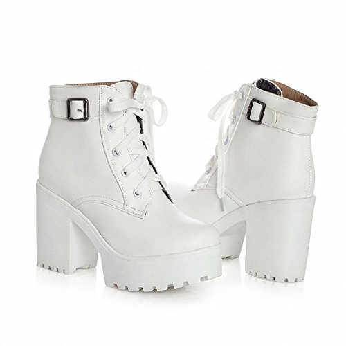 Show Shine Womens Fashion PU Leather Ankle-high Platform Block-heel Lace-up Western Boots White 44JHIfK