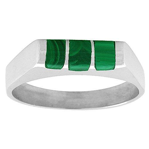 Sterling Silver Stripe Malachite - Sterling Silver Malachite ring for boys Half Tube 3 Stripes Solid Back Handmade, size 8