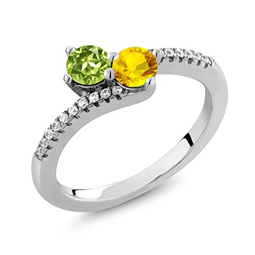 Gem Stone King 0.90 Ct Round Green Peridot Yellow Sapphire 2 Stone 925 Sterling Silver Bypass Ring (Size 6)