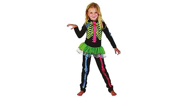 Amazon.com: Grande las niñas disfraz de esqueleto con huesos ...