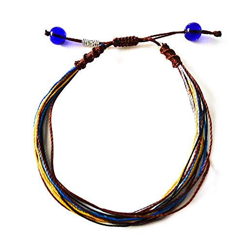 Surfing String Friendship Bracelet Medium 6.5-8.5 Inches Yellow Brown Macrame with Sea Glass Beads Adjustable Knots Unisex BFF Couples Beach Surf Valentine Gift Under 10 Dollars
