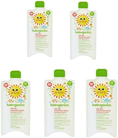 Babyganics Sunscreen Lotion SPF 50+ Single Use 1 oz - Pack of 5