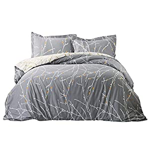 Bedsure Tree Branch 100% Cotton Duvet Cover Set King Size Grey/Ivory Reversible Comforter Cover Breathable Bedding Sets 3 Pieces