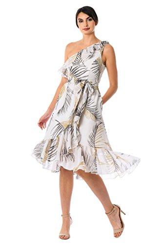 Georgette One Shoulder Dress - eShakti Women's Ruffle Palm Print Georgette one-Shoulder Dress M-10 Regular Multi