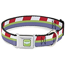 Dog Collar Seatbelt Buckle Toy Story Buzz Lightyear Bounding Stripe Red Green Purple 9 to 15 Inches 1.0 Inch Wide
