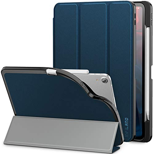 Infiland iPad Pro 11 2018 Case with Apple Pencil Holder, Slim Smart Tri-Fold Cover Compatible With Apple iPad Pro 11 Inch 2018 Released Tablet (Support Pencil Wireless Charging/Auto Wake/Sleep) Navy
