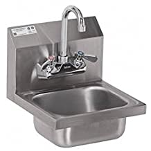 ACE Ultra Space Saver Wall Mount Stainless Steel Hand Sink with No Lead Faucet and Strainer, 12-1/4 by 12-Inch