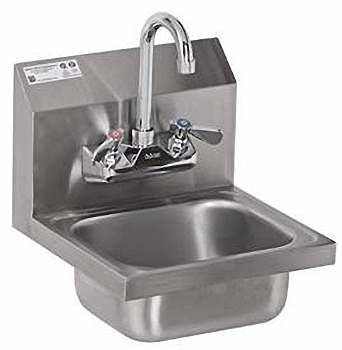 ACE Ultra Space Saver Wall Mount Stainless Steel Hand Sink with No Lead Faucet and Strainer, 12-1/4 by 12-Inch (Space Wall Mount)