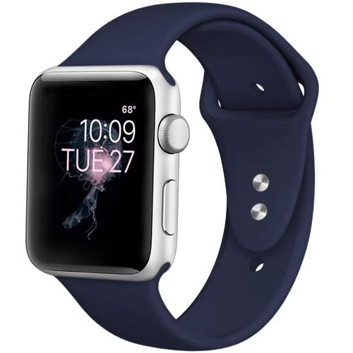DaQin Bands Compatible with Apple Watch Band 42mm 44mm, Soft Silicone Sport Replacement Wristbands Strap for iWatch Series 4, Series 3/2/1, Dark Blue, M/L