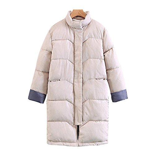 las pan de nuevo grueso abrigo sobre algodón tamaño chaqueta sección mujeres gran Invierno larga de las rodillas señoras Beige de XqOpExwwn