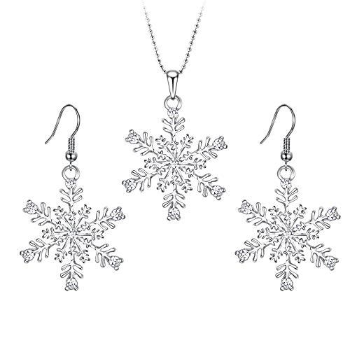 EVER FAITH Silver-Tone Austrian Crystal Snowflake Pendant Necklace Earrings Set Clear (Snowflake Winter Earrings)