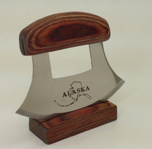 Alaska Ulu Knife Natural Exotic Wood Stand Etched Blade