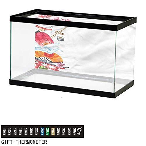 - bybyhome Fish Tank Backdrop Japan,Origami Sakura Sushi Lantern,Aquarium Background,36