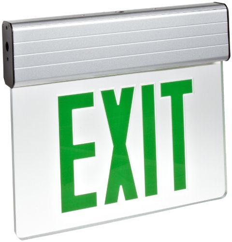 Morris Products LED Exit Sign - Surface Mount Edge - Green on Clear Panel, Anodized Aluminum Housing - Compact, Low-Profile Design - Single Side Legend - Energy Efficient, High Output - 1 Count