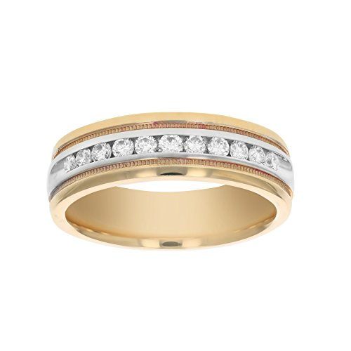 Men's 1/2 CT SI2-I1 14K Gold Machine Set Diamond Wedding Band