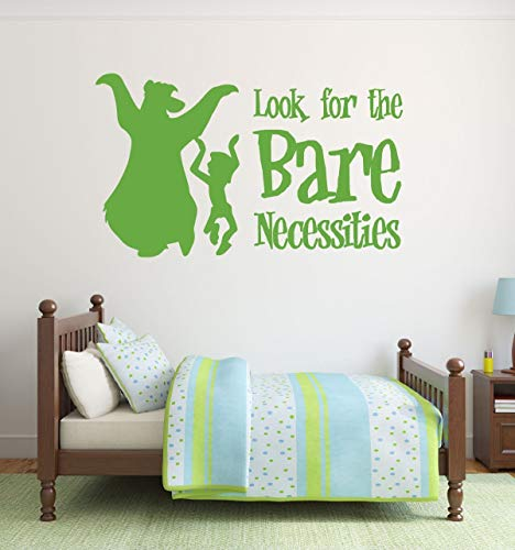 """Jungle Book Wall Decals - Characters Baloo the Bear and Mowgli Vinyl Stickers with""""Look for the Bare Necessities"""" Song Lyrics - Sticker Decoration for Playroom, Child"""