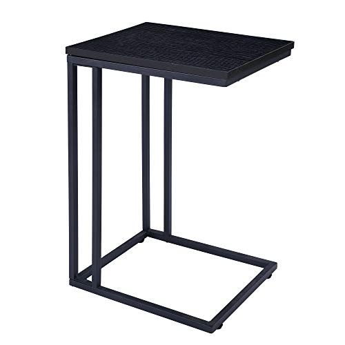 FIVEGIVEN Brownish Black Couch Side Table for Small Spaces Modern C Table for Living Room 22.4 Inch ()