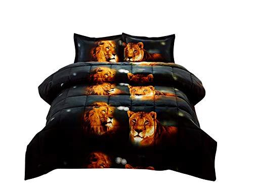 (3 Piece Set Box Stitched Lion Pride Prints 3d Comforter Set (Y15))