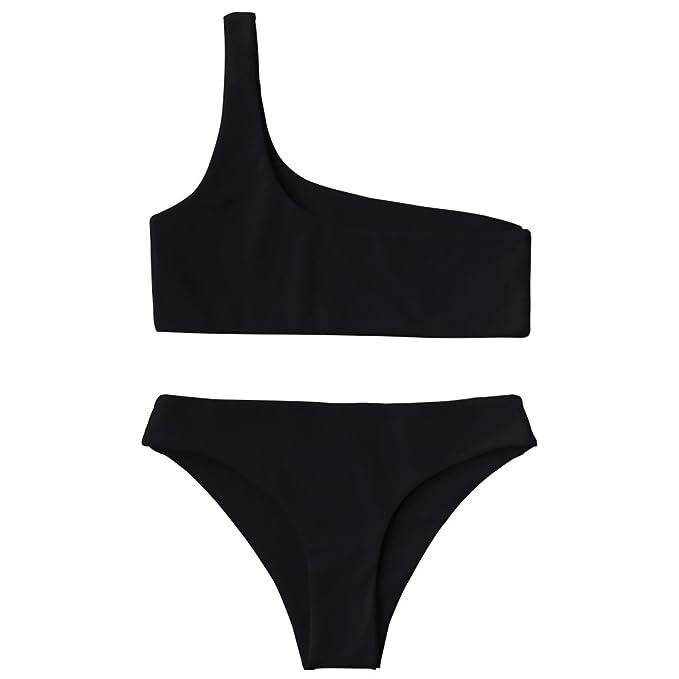 8347d038c59365 ZAFUL Women s Sexy Two Piece Monokinis One Shoulder Bikini Top and Bottoms  (Black ...