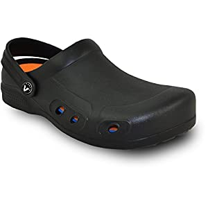 VANGELO Professional Slip Resistant Clog Men Work Shoe Chef Shoe Nurse Shoe Ritz Black White Lime – Order One Size Up
