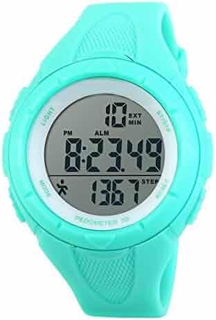 TOPCABIN Children Waterproof Sports Watch Step Gauge Watch Electronic Outdoor Watch For Boys Digital Watch For Girls Light Blue