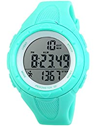 Children Waterproof Sports Watch Step Gauge Watch Electronic Outdoor Watch For Boys Digital Watch For Girls Light Blue