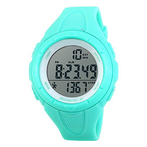 TOPCABIN Children Waterproof Sports Watch Step Gauge Watch Electronic Outdoor Watch For Boys Digital Watch For Girls Light Blue