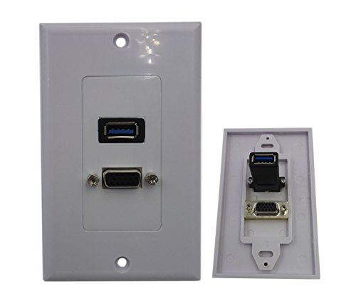 Usb Wall Plate Vga (CERRXIAN USB 3.0 VGA Component Composite Wall Face Plate Panel (White))