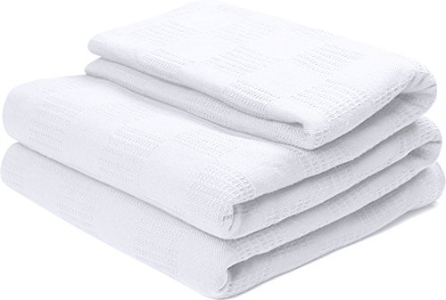 Utopia bedding 100% Premium Woven Cotton Blanket (King, White) Thermal Cotton Throw Blanket and Quilt for Bed & Couch/Sofa