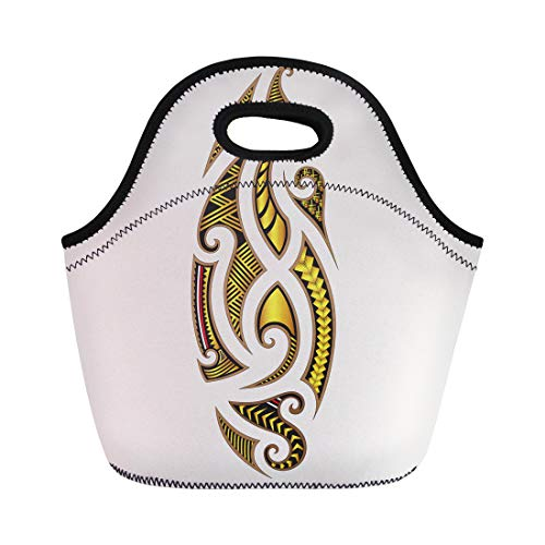 Semtomn Neoprene Lunch Tote Bag Abstract Tattoo Tribal Maori Designs Arm Back Black Body Reusable Cooler Bags Insulated Thermal Picnic Handbag for Travel,School,Outdoors,Work