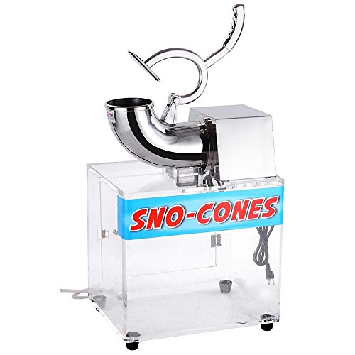 Yescom 250w 110v Stainless Steel Electric Ice Crusher Snow Cone Maker Shaver 440lbs/hr, 19 x 25 x 15 inches, Silver