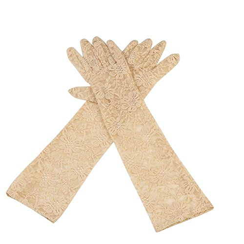Mid Arm Length Lace Gloves (EachWell Vintage Women's Sheer Floral Lace Gloves for Wedding(3 Length) Length:17