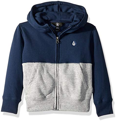 Volcom Boys' Little Single Stone Colorblock Zip Up Fleece Hooded Sweatshirt, MELINDIGO 6