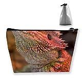 Women Cool Bearded Dragon Lizards Animal Make Up Bag Organizer Multi-Purpose Cosmetic Train Case...