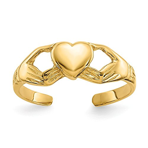 Ring 14k Celtic Toe (14k Yellow Gold Irish Claddagh Celtic Knot Adjustable Cute Toe Ring Set Fine Jewelry Gifts For Women For Her)