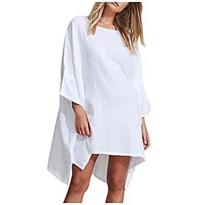 COOKI Women Casual T Shirt Dresses Solid Cotton and Linen Beach Irregular Loose Mini Dress Summer Sundress Swing Party Dress at  Women's Clothing store