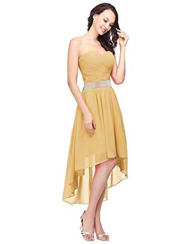 Clearbridal Chiffon Asymmetrisch Golden Abendkleid Damen CSD400 Cocktailkleid Abschlusskleider Bandeau Ballkleid 44xar7Z