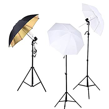 Image of Andoer Photo Studio Kit Photography 45W Light Bulb Muslin Backdrop Stand E27 Light Socket Soft Umbrella Black/Gold Umbrella Set Backgrounds
